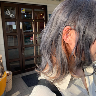 モード ブリーチカラー セミロング 透明感カラー ヘアスタイルや髪型の写真・画像