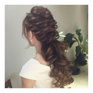 エレガント ロング ハーフアップ ポニーテール ヘアスタイルや髪型の写真・画像