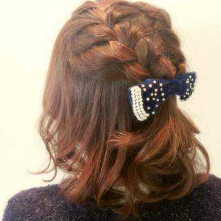 編み込み モテ髪 コンサバ ショート ヘアスタイルや髪型の写真・画像