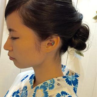 シニヨン ヘアアレンジ お祭り ナチュラル ヘアスタイルや髪型の写真・画像