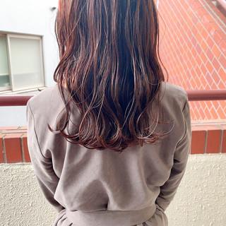 透明感カラー 赤髪 セミロング ピンクベージュ ヘアスタイルや髪型の写真・画像