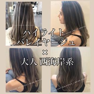 ハイライト ナチュラル アンニュイほつれヘア バレイヤージュ ヘアスタイルや髪型の写真・画像