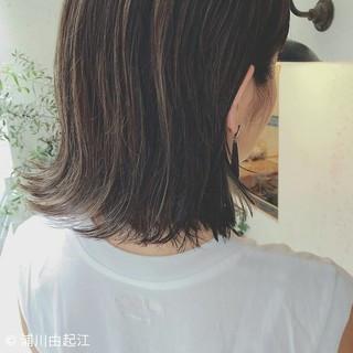 デート ハイライト 切りっぱなし 大人かわいい ヘアスタイルや髪型の写真・画像