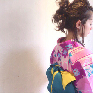 花火大会 ミディアム ナチュラル 涼しげ ヘアスタイルや髪型の写真・画像