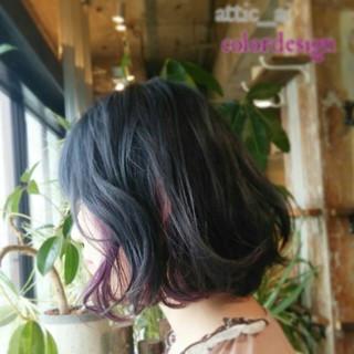 カラーバター ボブ ブリーチ インナーカラー ヘアスタイルや髪型の写真・画像