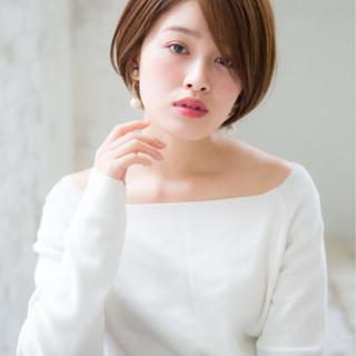 小顔 ショート フリンジバング ニュアンス ヘアスタイルや髪型の写真・画像