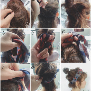 お団子 ヘアアクセ バンダナ ヘアアレンジ ヘアスタイルや髪型の写真・画像