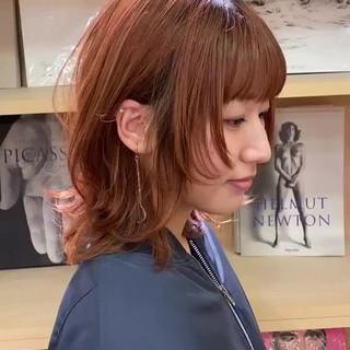 ニュアンスウルフ モード デート ミディアム ヘアスタイルや髪型の写真・画像