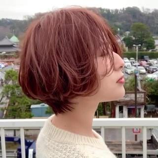 オレンジブラウン 秋冬スタイル 大人可愛い ショートボブ ヘアスタイルや髪型の写真・画像