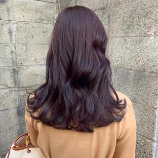 ガーリー 韓国ヘア 韓国風ヘアー ミディアム ヘアスタイルや髪型の写真・画像