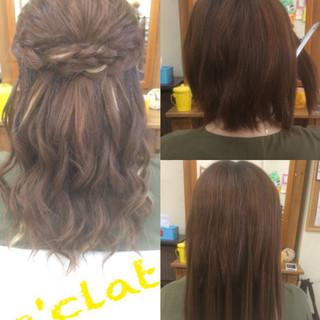 ハイライト ヘアアレンジ ハーフアップ ガーリー ヘアスタイルや髪型の写真・画像