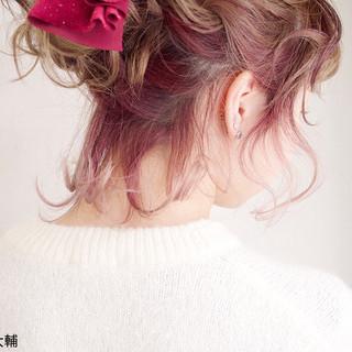 インナーカラー ヘアアレンジ ボブ アンニュイほつれヘア ヘアスタイルや髪型の写真・画像