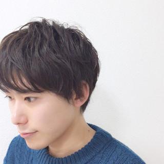 黒髪 パーマ ショート モテ髪 ヘアスタイルや髪型の写真・画像