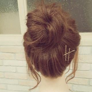 ロング 簡単ヘアアレンジ ショート お団子 ヘアスタイルや髪型の写真・画像