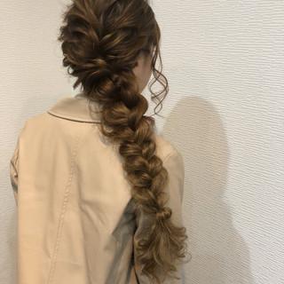 ガーリー 編みおろしヘア ヘアセット 編み込み ヘアスタイルや髪型の写真・画像