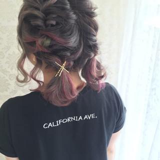 編み込み ショート くるりんぱ 簡単ヘアアレンジ ヘアスタイルや髪型の写真・画像
