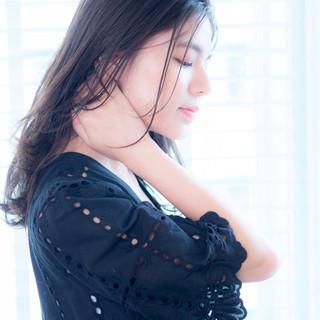 ブルージュ パーマ 暗髪 セミロング ヘアスタイルや髪型の写真・画像