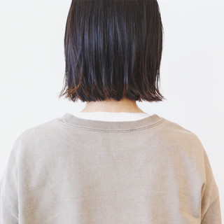 黒髪 ナチュラル 切りっぱなしボブ 地毛風カラー ヘアスタイルや髪型の写真・画像