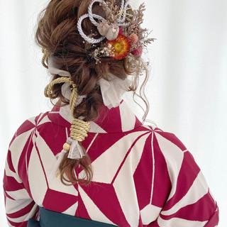 ドライフラワー 卒業式 紐アレンジ ヘアアレンジ ヘアスタイルや髪型の写真・画像