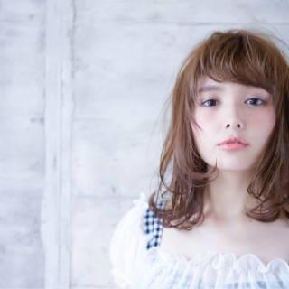 モテ髪 ガーリー ミディアム ナチュラル ヘアスタイルや髪型の写真・画像