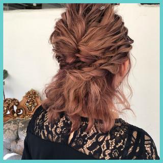 ボブ ナチュラル 結婚式 簡単ヘアアレンジ ヘアスタイルや髪型の写真・画像 ヘアスタイルや髪型の写真・画像