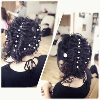 ロープ編み 編み込み ロング ヘアアレンジ ヘアスタイルや髪型の写真・画像
