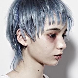 ブルーアッシュ ネイビー モード かっこいい ヘアスタイルや髪型の写真・画像