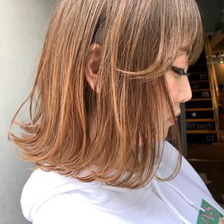 ナチュラル オレンジベージュ 前髪 外ハネボブ ヘアスタイルや髪型の写真・画像