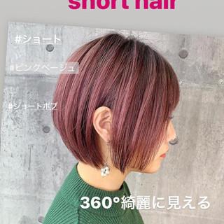 ショートヘア ショート 小顔ショート ピンクアッシュ ヘアスタイルや髪型の写真・画像 ヘアスタイルや髪型の写真・画像