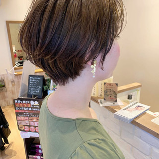 ショートボブ ベージュ ショート ショートヘア ヘアスタイルや髪型の写真・画像