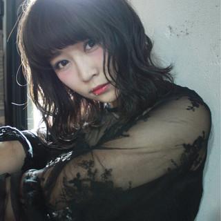 ミディアム 黒髪 外国人風カラー リラックス ヘアスタイルや髪型の写真・画像
