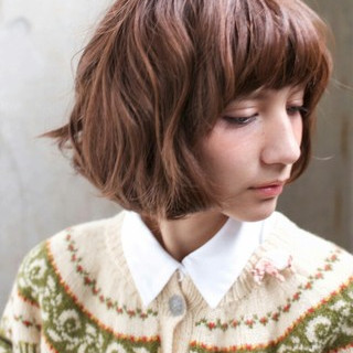 ボブ 外国人風 ゆるふわ 大人かわいい ヘアスタイルや髪型の写真・画像