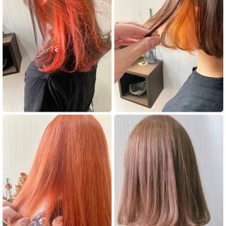 インナーカラーオレンジ ボブ ショートボブ ナチュラル ヘアスタイルや髪型の写真・画像