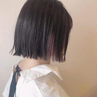ボブ ピンクグレージュ インナーピンク インナーカラー ヘアスタイルや髪型の写真・画像