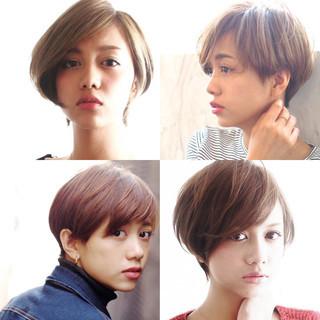 小顔 ショート 大人女子 外国人風カラー ヘアスタイルや髪型の写真・画像 ヘアスタイルや髪型の写真・画像