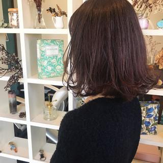 ボブ バイオレットアッシュ ピンク ナチュラル ヘアスタイルや髪型の写真・画像