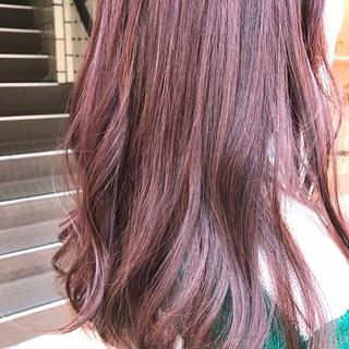 ピンク ラベンダーピンク ナチュラル セミロング ヘアスタイルや髪型の写真・画像