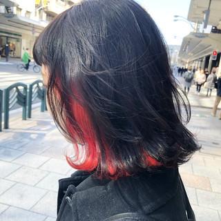 インナーカラー ブリーチカラー ミディアム ブリーチオンカラー ヘアスタイルや髪型の写真・画像 ヘアスタイルや髪型の写真・画像