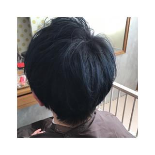 ショート ブルーグラデーション ブルーブラック ブルーアッシュ ヘアスタイルや髪型の写真・画像