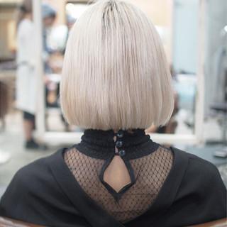 ボブ ブリーチ 外国人風カラー 切りっぱなし ヘアスタイルや髪型の写真・画像
