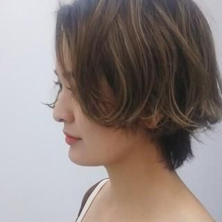 外国人風 抜け感 ショートボブ ナチュラル ヘアスタイルや髪型の写真・画像