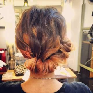 ヘアアレンジ ウェーブ 簡単ヘアアレンジ 編み込み ヘアスタイルや髪型の写真・画像