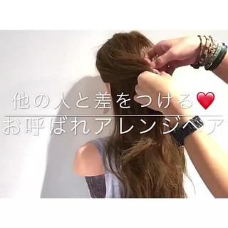 女子会 簡単ヘアアレンジ ロング エレガント ヘアスタイルや髪型の写真・画像