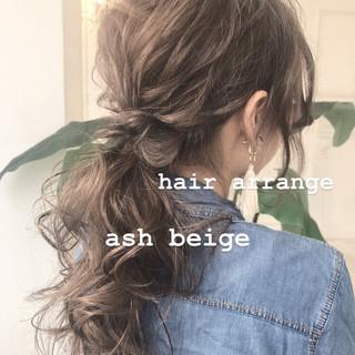 セミロング 簡単ヘアアレンジ アッシュ アッシュブラウン ヘアスタイルや髪型の写真・画像