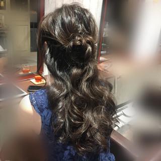 エレガント ハーフアップ デート ヘアアレンジ ヘアスタイルや髪型の写真・画像