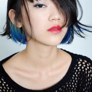 ダブルバング ピュア グラデーションカラー ボブ ヘアスタイルや髪型の写真・画像