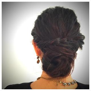 結婚式 パーティ 黒髪 ヘアアレンジ ヘアスタイルや髪型の写真・画像