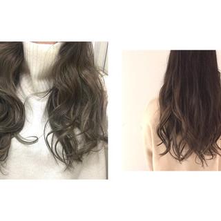 ロング バイオレットアッシュ パープル ハイライト ヘアスタイルや髪型の写真・画像