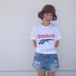 アッシュ 夏 ボブ ヘアアレンジ ヘアスタイルや髪型の写真・画像