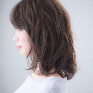 アッシュ 黒髪 前髪あり ミディアム ヘアスタイルや髪型の写真・画像 ヘアスタイルや髪型の写真・画像